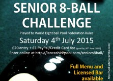 Senior 8-Ball Challenge announced for 4th July